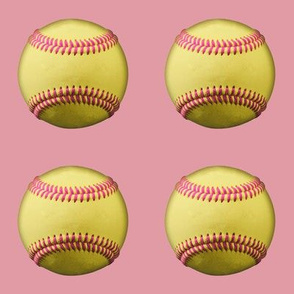 """3"""" Yellow softballs, pink stitching, on rosebud pink"""