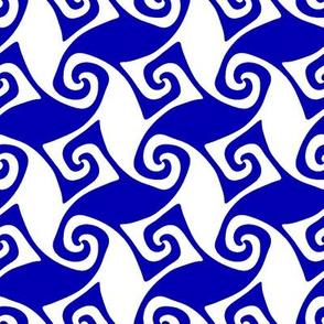 Trellis in cobalt blue and white