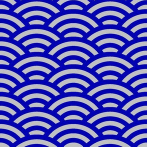 Japanese waves in cobalt blue and silver