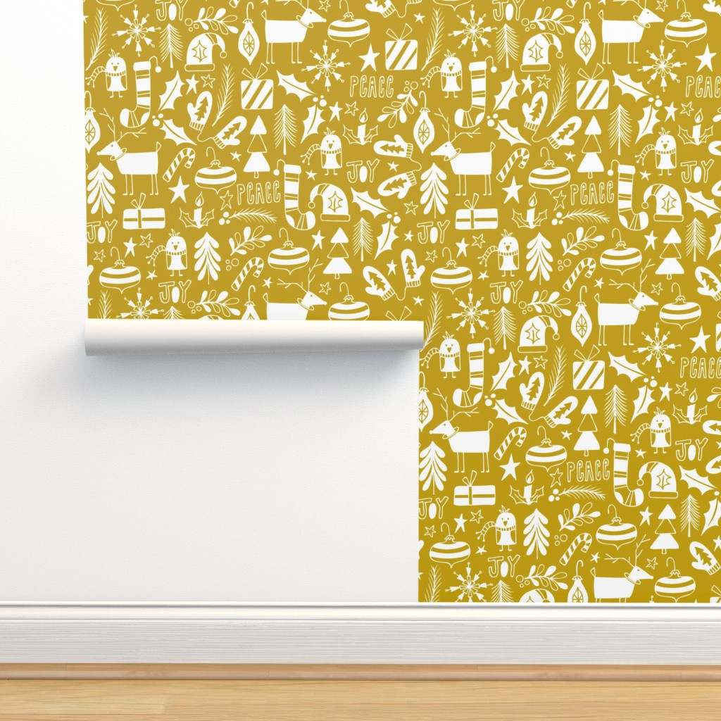 Isobar Durable Wallpaper featuring Peace & Joy Christmas - Yellow Gold by heatherdutton