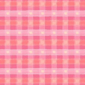 Watercolor Pink Plaid XS