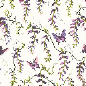 Pink and purple Wisteria butterfly floral Cross Stitch Needle point, Cottagecore, nursery wallpaper, baby shower, baby girl, home decor, lavender flowers, light color, green vines, delicate floral