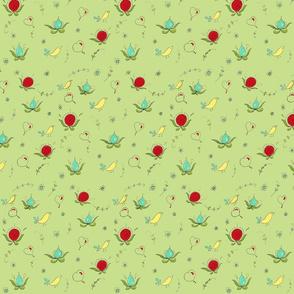 Pomegranate folk art Birds