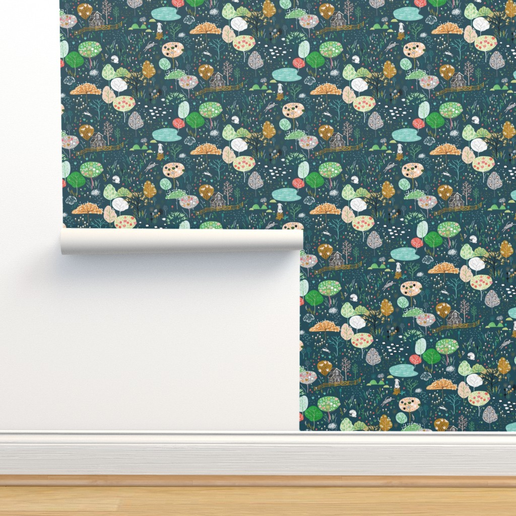 Isobar Durable Wallpaper featuring Ambrosia Orchard (midnight linen) by nouveau_bohemian