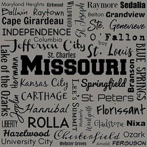Missouri cities, medium gray