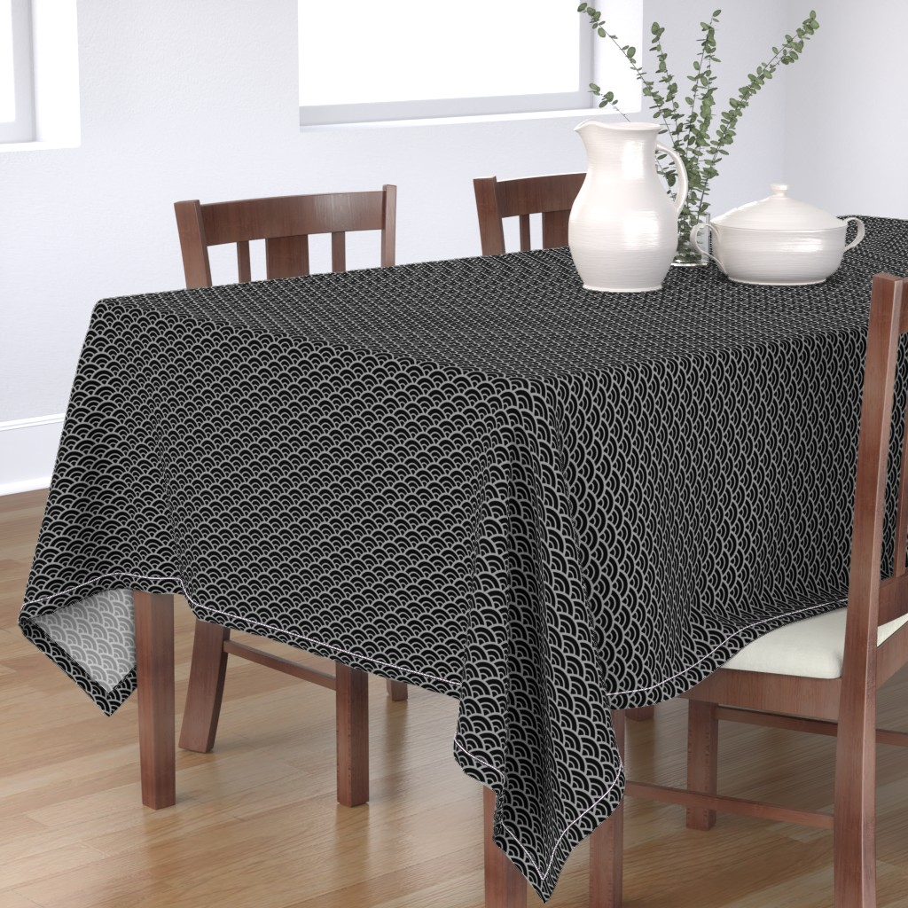 Bantam Rectangular Tablecloth featuring Hanzo Silver Fishscale by sexydeathparty