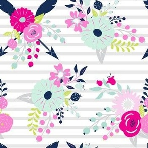Spring Floral Stripe // Bright Baby Girl Flowers + Arrows pink, aqua, navy blue, lime green, magenta, fuchsia, hot pink