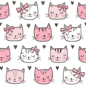 Pink Cat Cats  Faces with Bows and Hearts
