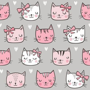 Pink Cat Cats  Faces with Bows and Hearts on Grey