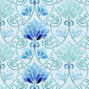 Art Nouveau Lotus in Watercolor