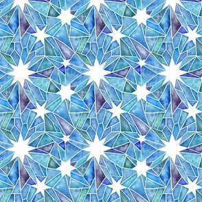 Stained Glass Star Watercolor - Blue Tones