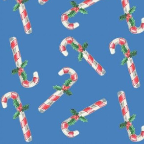 Christmas Vintage Candy Canes and Holly