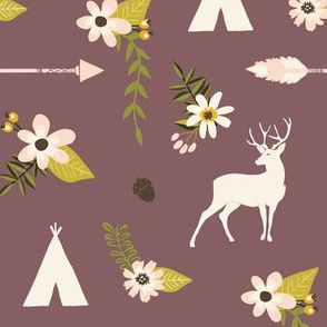 Purple woodland deer and flowers