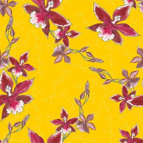 Red orchids on a yellow scroll background