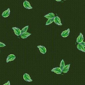 Elegant  green leaves pattern on tweed