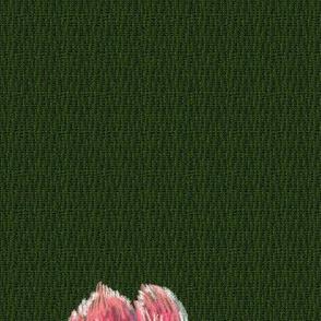 Small peony on tweed