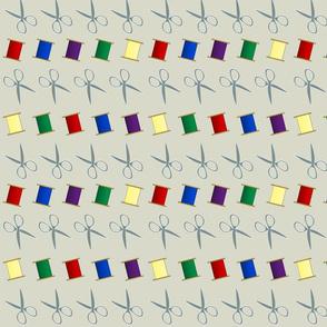 Scissors And Multi-color Thread Spools