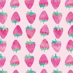 strawberries - pink watercolor on pink