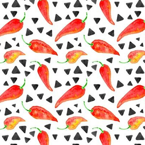 chili peppers with triangles || watercolor fabric