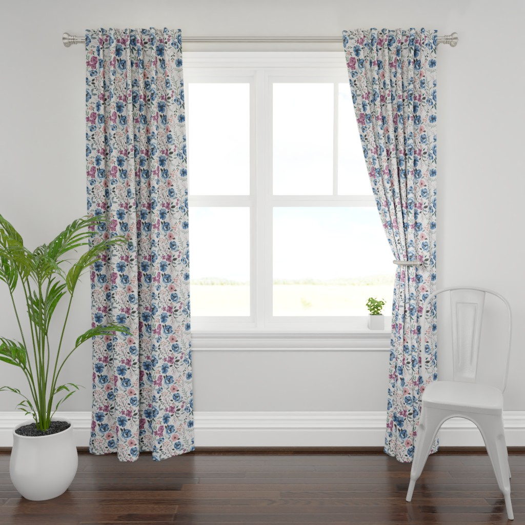 Plymouth Curtain Panel featuring Berry Meadow Floral on Cream by sweeterthanhoney