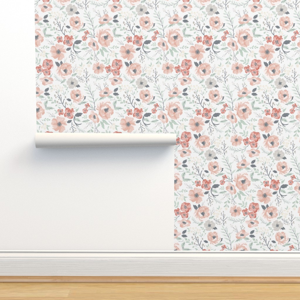 Isobar Durable Wallpaper featuring Soft Meadow Floral by sweeterthanhoney