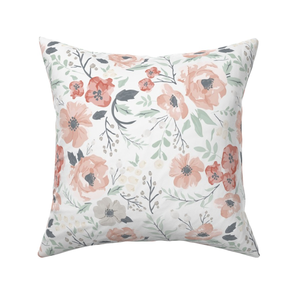Catalan Throw Pillow featuring Soft Meadow Floral by sweeterthanhoney