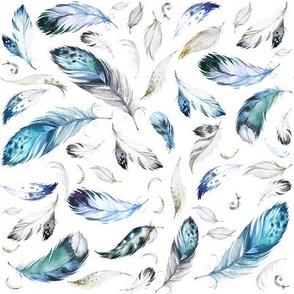 "8"" Blue, Grey, Black & White Feathers Mix & Match"