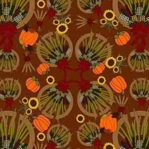 Fall Wreath, Reeds, Flowers and Baskets Graphics Fabric Collection