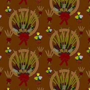 Fall Wreaths, Reed, Flowers, Roses and Baskets Graphics Fabric Collection