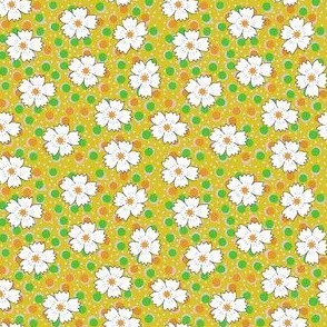 Flour sack:  white daisies on yellow