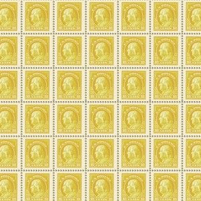 1914 Benjamin Franklin 10-cent yellow stamp sheet