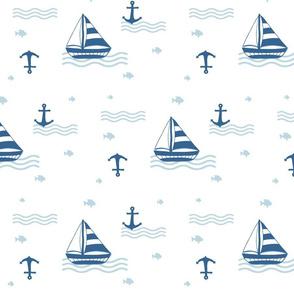 Sail boats // anchors // waves