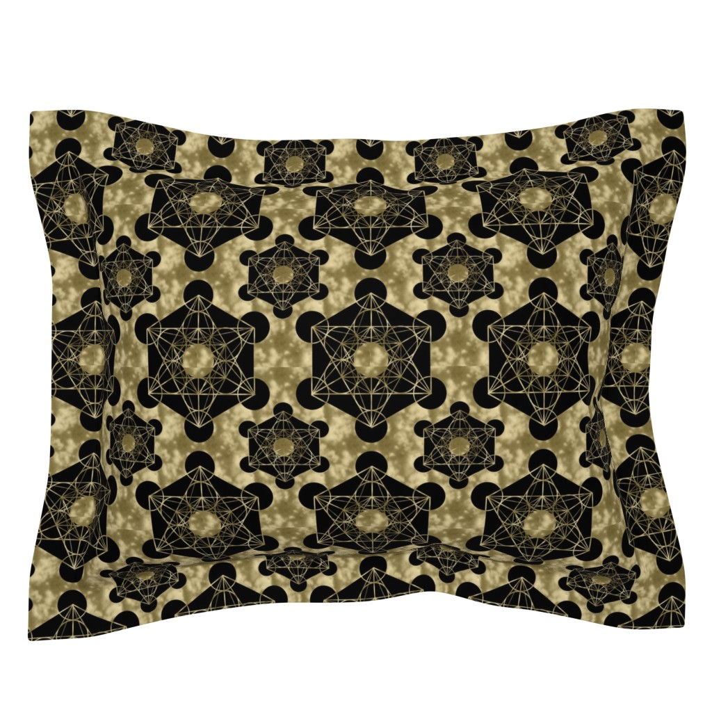 Sebright Pillow Sham featuring Golden Metatron's Cube by maverickcreatrix