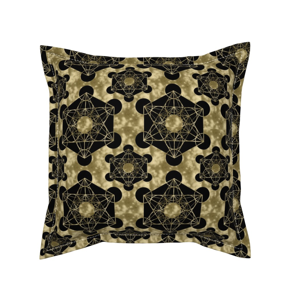 Serama Throw Pillow featuring Golden Metatron's Cube by maverickcreatrix