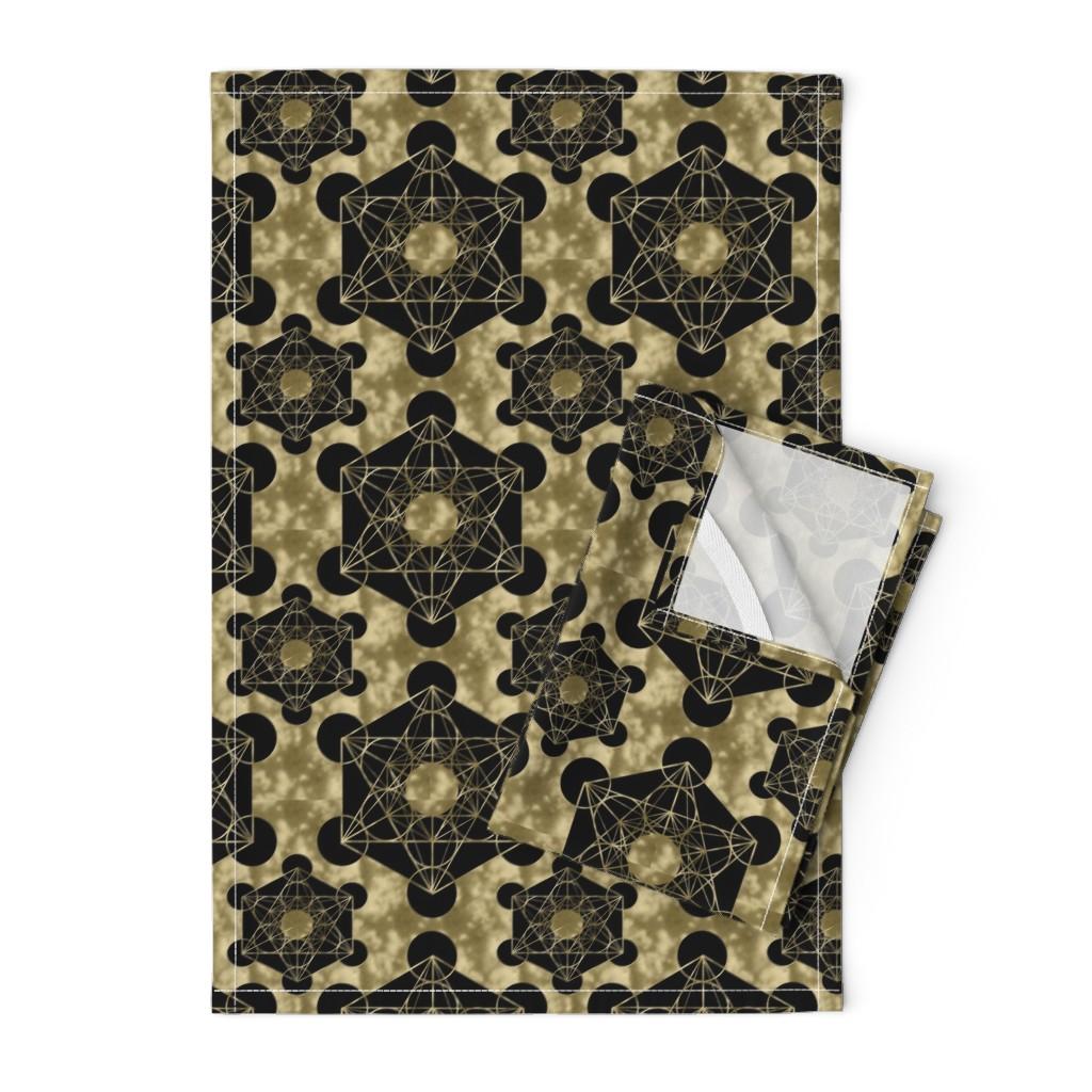 Orpington Tea Towels featuring Golden Metatron's Cube by maverickcreatrix