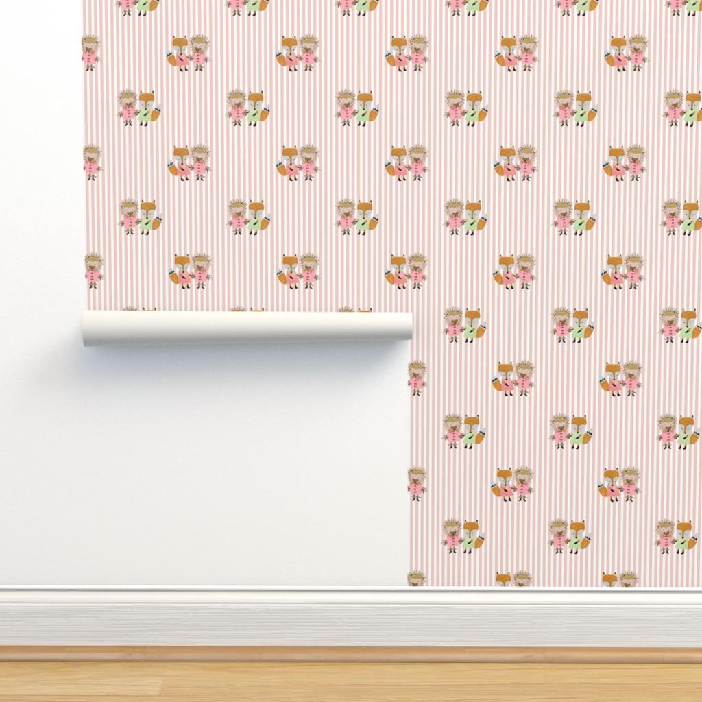 Isobar Durable Wallpaper featuring Foxie and Hedgie Pink Stripe by paper_and_frill
