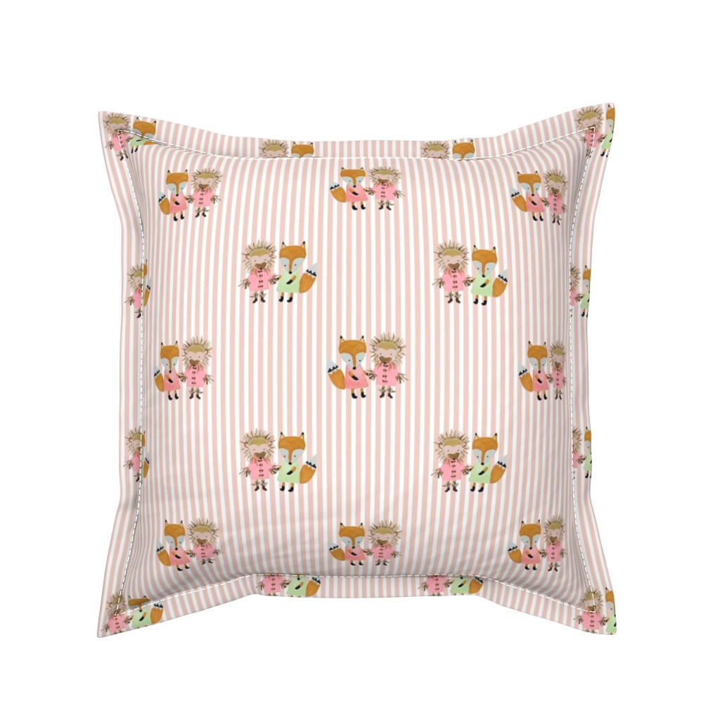 Serama Throw Pillow featuring Foxie and Hedgie Pink Stripe by paper_and_frill