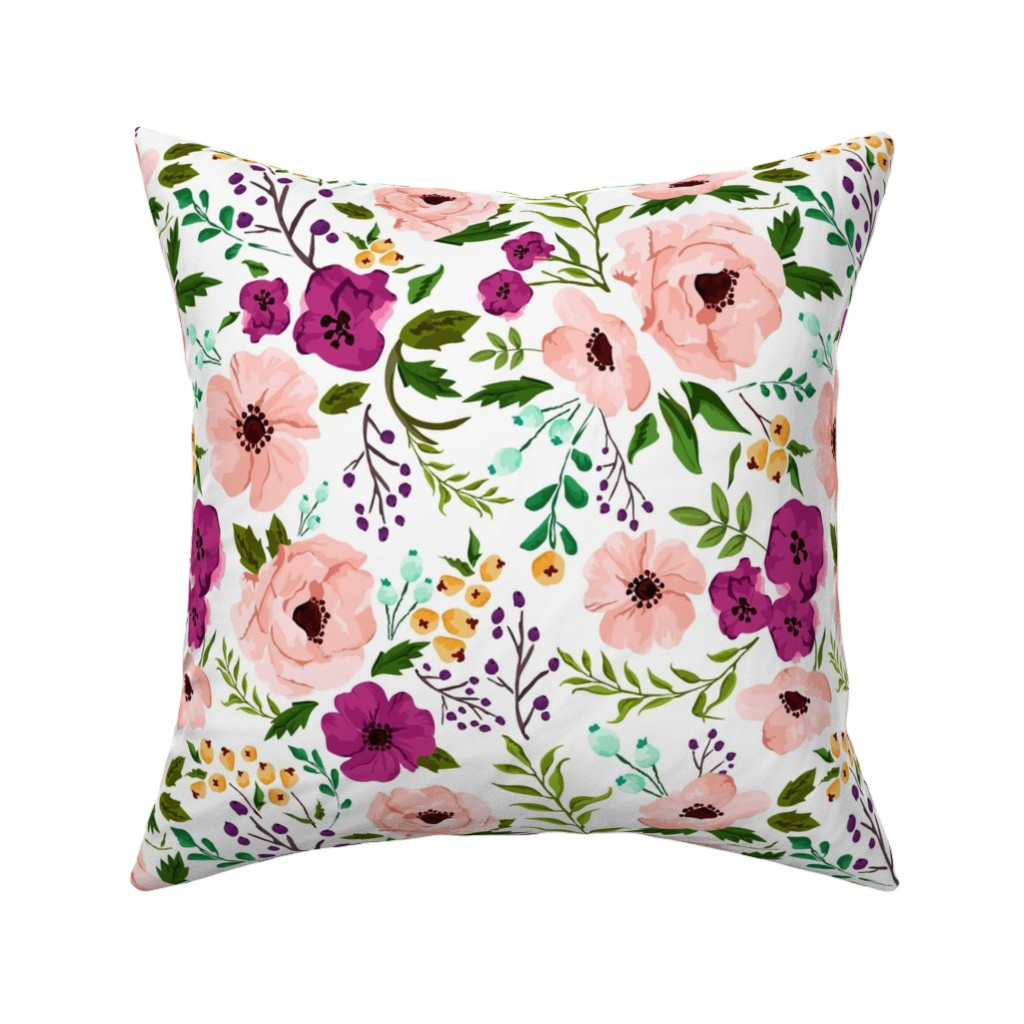 Catalan Throw Pillow featuring Josie Meadow Floral by sweeterthanhoney