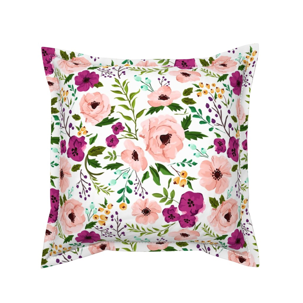 Serama Throw Pillow featuring Josie Meadow Floral by sweeterthanhoney