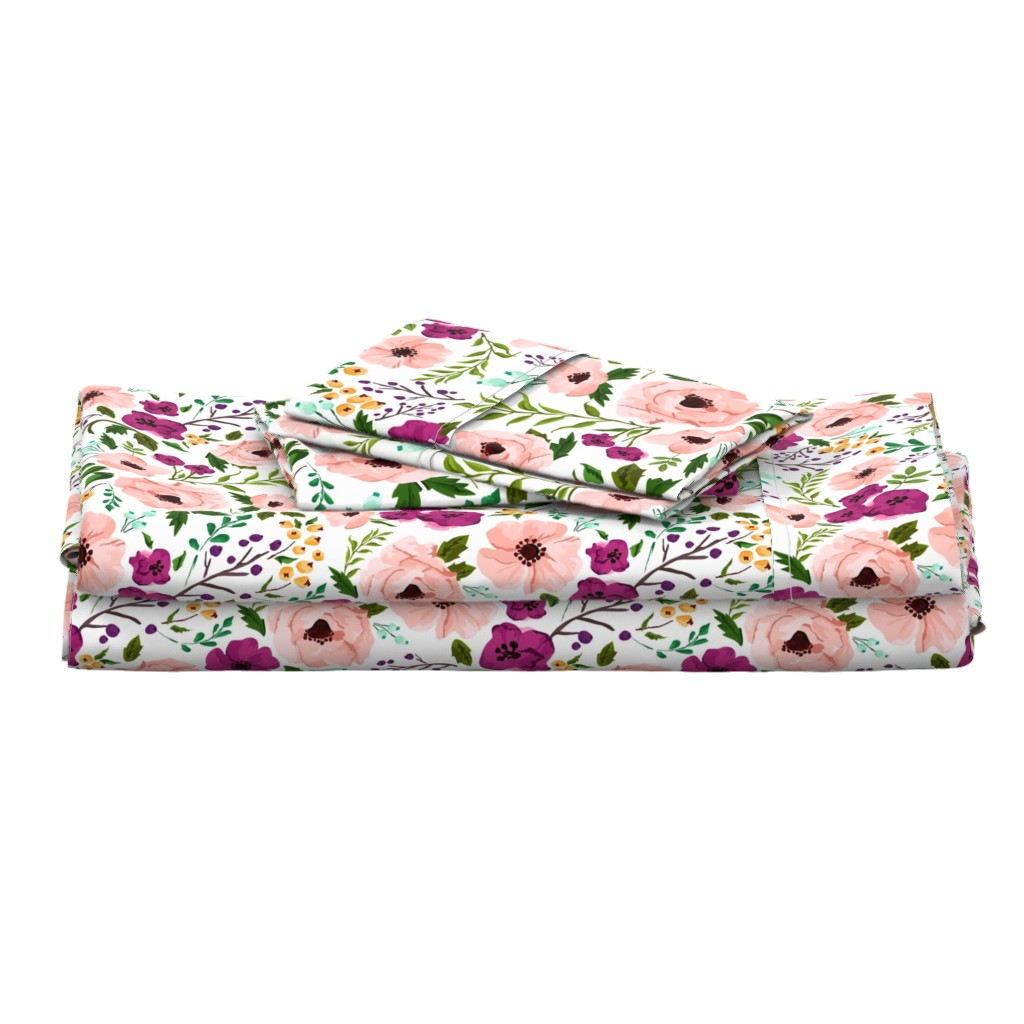 Langshan Full Bed Set featuring Josie Meadow Floral by sweeterthanhoney