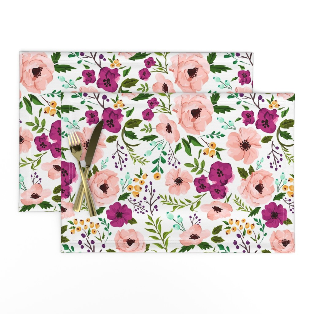 Lamona Cloth Placemats featuring Josie Meadow Floral by sweeterthanhoney