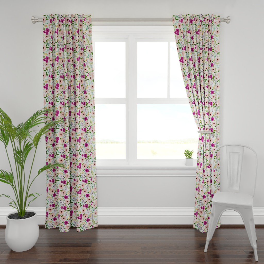 Plymouth Curtain Panel featuring Josie Meadow Floral by sweeterthanhoney