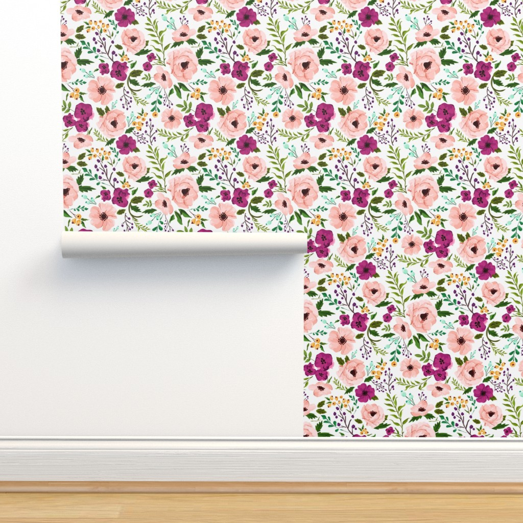 Isobar Durable Wallpaper featuring Josie Meadow Floral by sweeterthanhoney