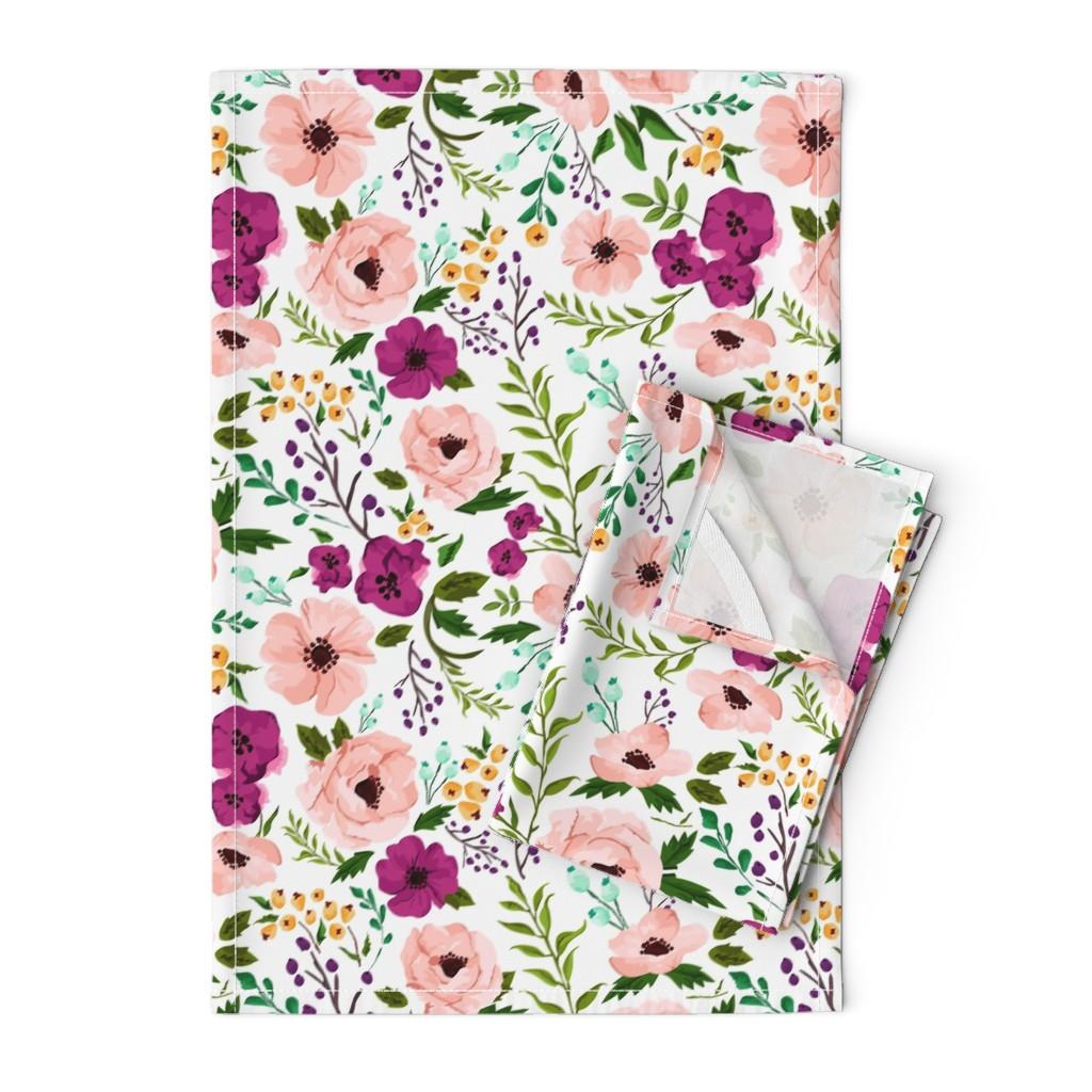 Orpington Tea Towels featuring Josie Meadow Floral by sweeterthanhoney