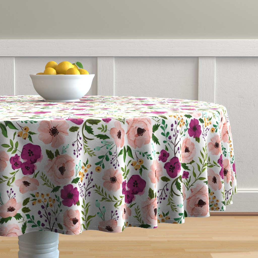 Malay Round Tablecloth featuring Josie Meadow Floral by sweeterthanhoney