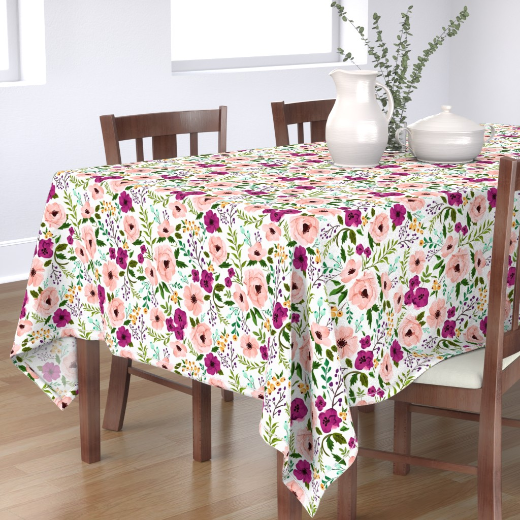 Bantam Rectangular Tablecloth featuring Josie Meadow Floral by sweeterthanhoney