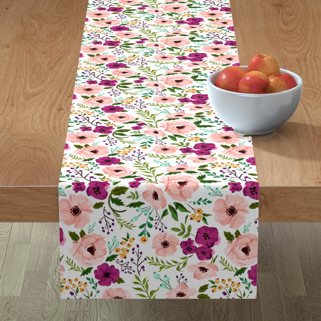 Minorca Table Runner featuring Josie Meadow Floral by sweeterthanhoney