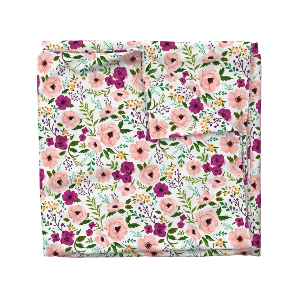 Wyandotte Duvet Cover featuring Josie Meadow Floral by sweeterthanhoney