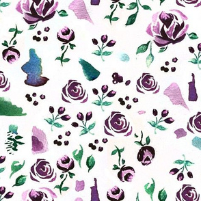 Ditsy Watercolor Roses // Violet and Emerald