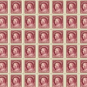1917 Benjamin Franklin 12-cent maroon stamp sheet